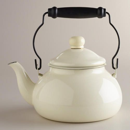 Ivory Vintage-Style Kettle at Cost Plus World Market >> #WorldMarket Vintage