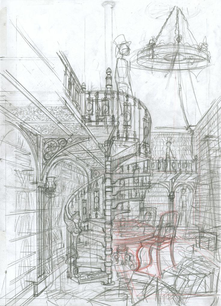 Boceto librería Baskerville. Boceto librería Baskerville: lápiz de grafito sobre papel dinA3: 100 € David Belmonte ©