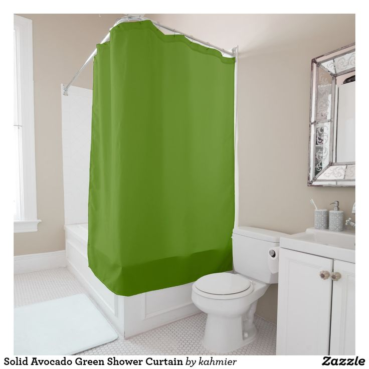 Solid Avocado Green Shower Curtain