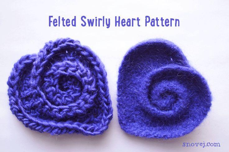 Felted Swirly Felt Heart (free)  Pattern