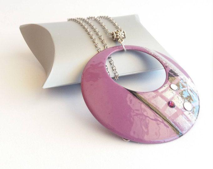Collier femme sautoir violet, collier femme pendentif rond, collier femme noir et violet, collier femme pas cher, collier pour mariage