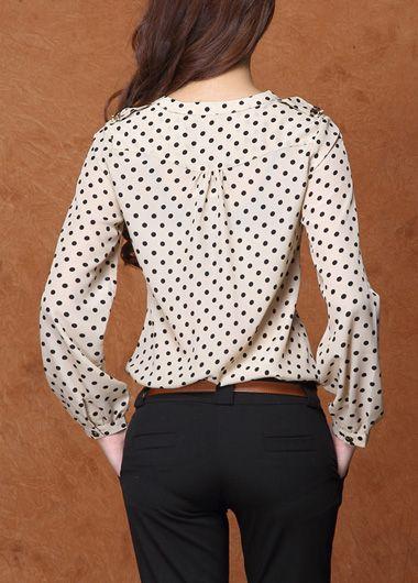 OL Style Polka Dot Print Mandarin Collar Tees Khaki