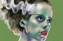 The Bride of Frankenstein - Pastel Artwork.