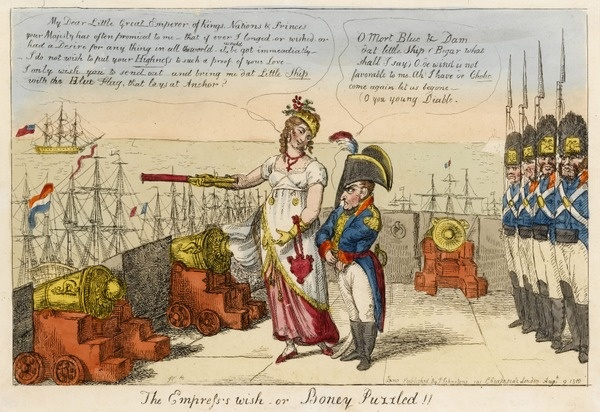 'The Empress's wish or Boney Puzzled!!' - Empress Josephine uses a telescope to gesture to a ship. Isaac Cruikshank, 1810.