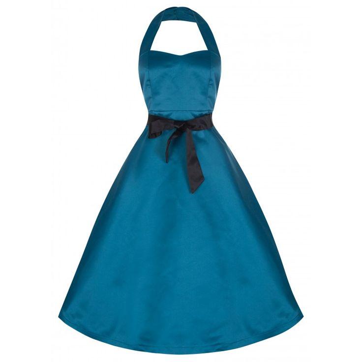 Šaty Lindy Bop Queenie Aqua Šaty ve stylu 50. let. Nádherné šaty v azurově modré barvě vhodné pro družičky či svědkyně na svatby, na zahradní párty či jiné společenské akce. Příjemný materiál s jemným leskem podobný saténu (100% polyester), dekolt tvarovaný do srdíčka opatřený vpředu uvnitř podšívkou a silikonovým proužkem, aby dobře přilnul, širší spojené ramínko za krk, zapínání na zip v zadní části, všitá gumička. Šaty mají příjemně projmutý střih se sukní do tvaru A, nejsou nabírané v…