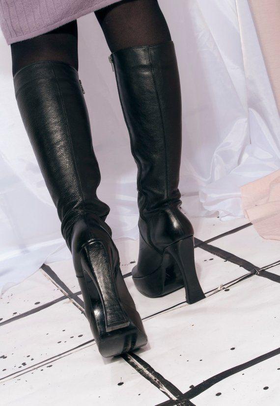 Vintage platform boots 90s black leather knee high boots
