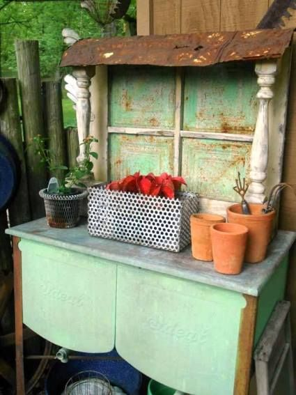 Dressed up dressers in the garden  Julie Brown's double wash tub and window