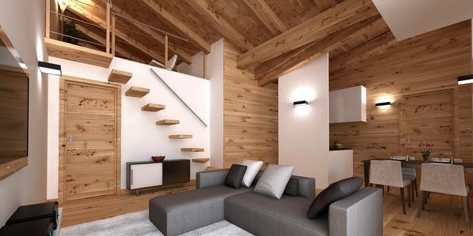 Vendita appartamento in baita di montagna al melezet case for Appartamenti di design