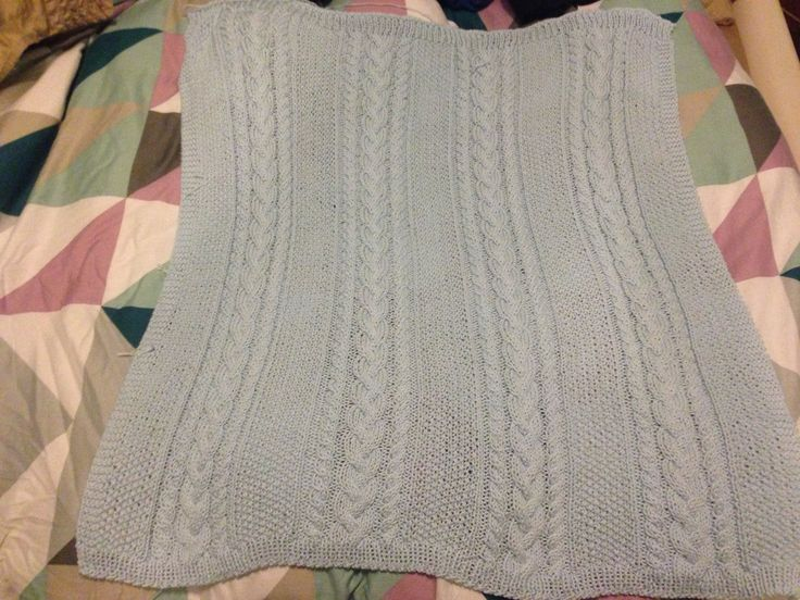 Beautiful cable knit baby boy blanket!