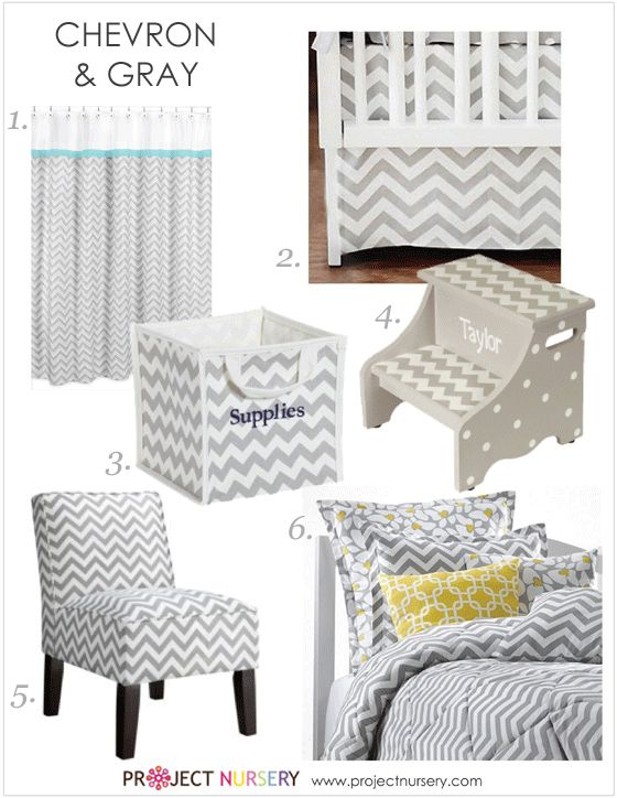 Gray Chevron Nursery Design Board - #gray #chevron #nurserydesign