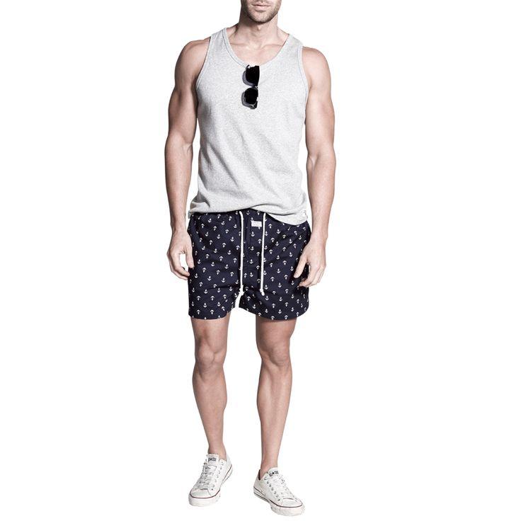 Grey Marle Tank   Penkivil Boxer Shorts Anchor #campbellandhall #boxershorts #menswear #anchor #mensclothing #beach #style