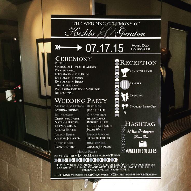 Wedding Program Board Black And White Infotheinviteonline