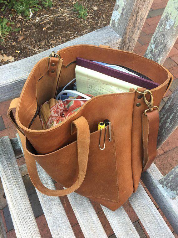 6e1e7f3f5a6eb Camel Leather tote bag with large outside pocket. Cap Sa Sal Bag ...