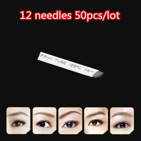 50 pcs/lot Brand12 постоянный макияж лезвие руководство бровей татуировки ручка лезвия 12 иглы купить на AliExpress