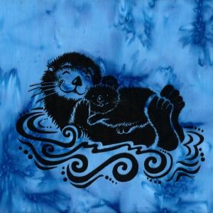 Otter & Baby Batik Blue | Fairweather Prints