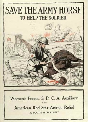 Save the Army horse, WWI - America. American Red Star Animal Relief