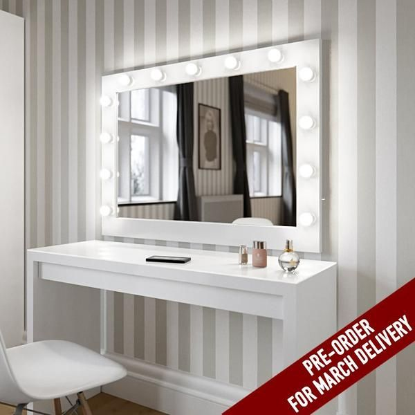 Hollywood Mirror In White Gloss | Makeup Mirror with Lights | Dressing Table Mirror with Lights | Vanity Mirror with Lights | Illuminated Makeup Mirror | Holllywood Mirror UK | Light Up Makeup Mirror | Hollywood Mirrors | Mirror Size 80 X 110cm |The best illuminated high gloss white makeup mirror on the market which comes with 13 led light bulbs to create the perfect environment to get ready at your dressing table. #hollywoodmirror #makeupmirror #vanitymirror #dressingtable