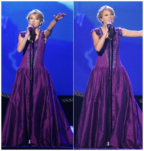 Taylor Swift in a Purple Dress - 42nd CMA Awards 2008