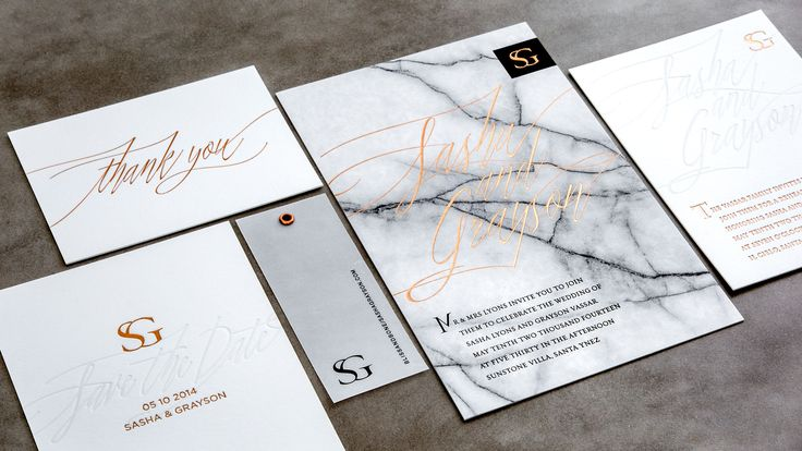 Letterpress & Foil Invitations / Copper / Marble / White / Masculine Invitations / Wedding Invitations / Bliss & Bone
