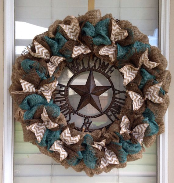 Hey, I found this really awesome Etsy listing at https://www.etsy.com/listing/192568869/turquoise-burlap-wreath-natural-brown