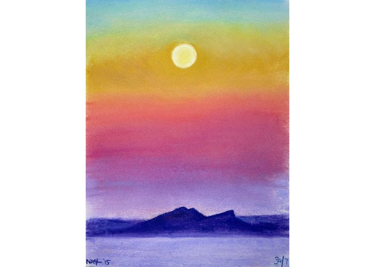 Blue Moon Eve (August 2015) original pastel drawing landscape seascape by jonnagl on Etsy