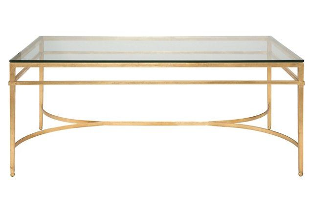 Larsen Glass Top Coffee Table, Gold
