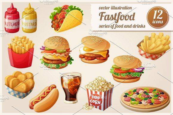 Cartoon fast food vector icons set by Ann-zabella on @creativemarket