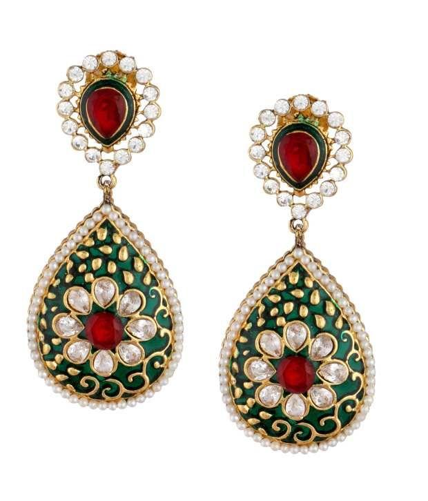 Buy The jewelbox 18k gold plated american diamond pearl chaand bali ear