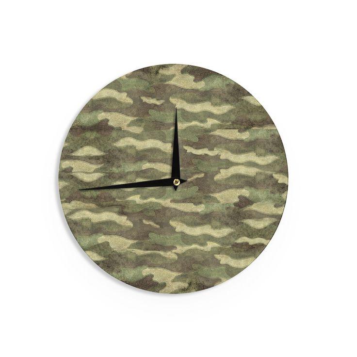 Kess InHouseBruce Stanfield 'Dirty Camo' Beige Wall Clock
