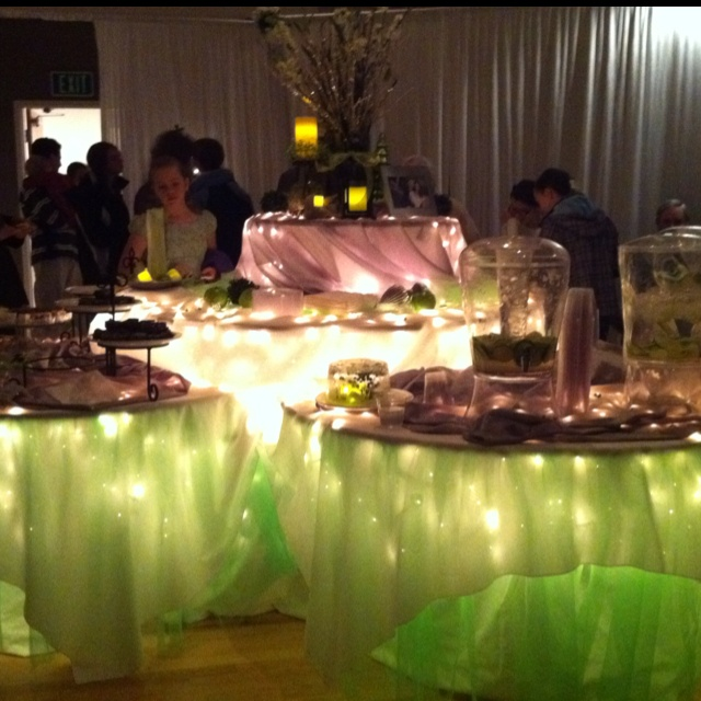 Green wedding decor. Beautiful.  Lights under tables!