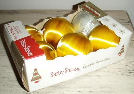 vintage ORNAMENTS  Golden SATIN SHEEN vintage by ThriftyDiversions, $14.00