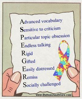 Aspergers - Advanced Vocabulary, Sensitive to Criticism, Particular Topic Obsession, Endless Talking, Rigid, Gifted, Easily Distressed, Remiss, Socially Challenged