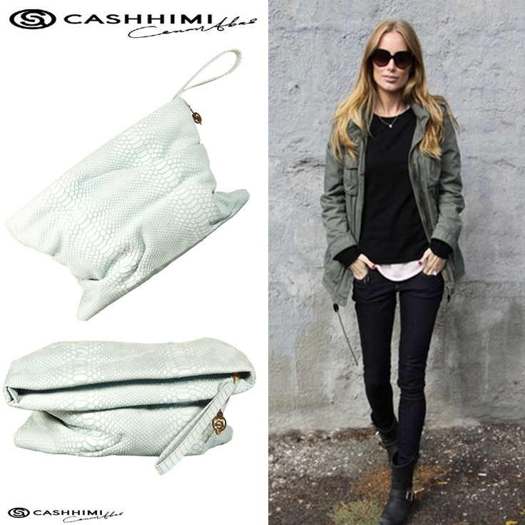 Cashhimi White LE DOUX  Leather Clutch