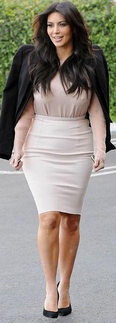 Kim Kardashian: Shoes -Balmain  Shirt – Lanvin  Skirt – Kayne West  Jacket – Alexander McQueen