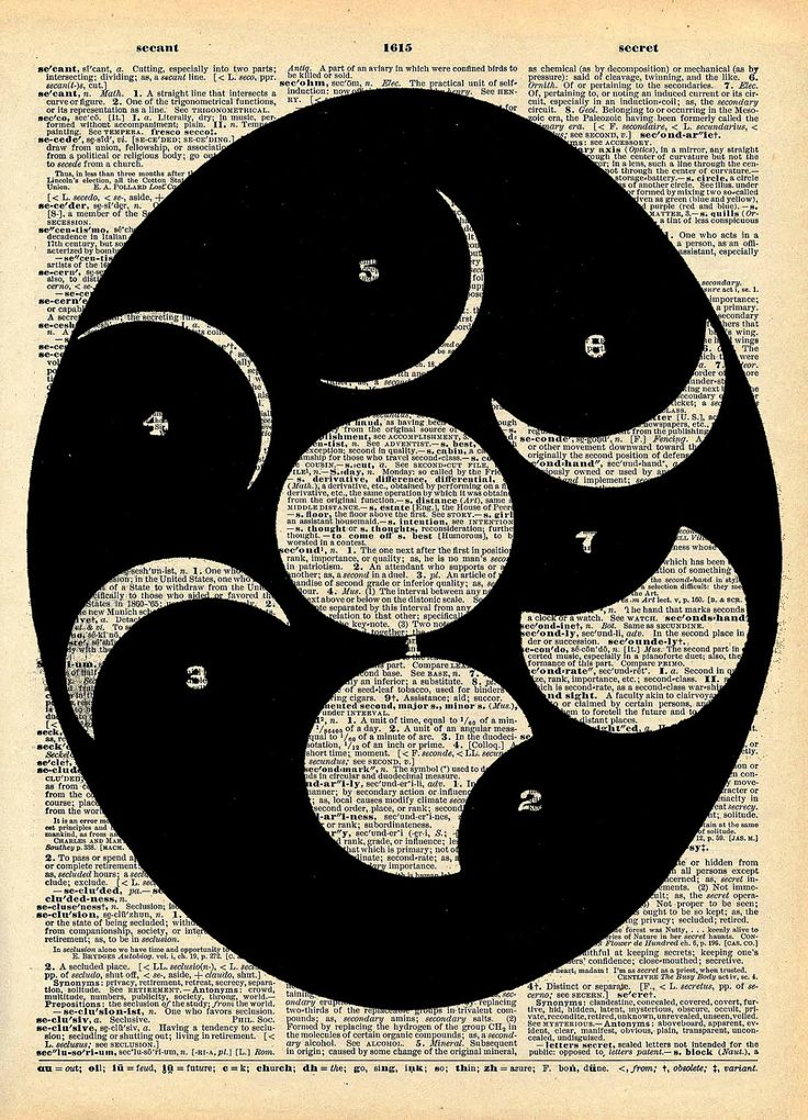 Vintage Book Art Print - Moon Cycle Outer Space - Antique Book Print