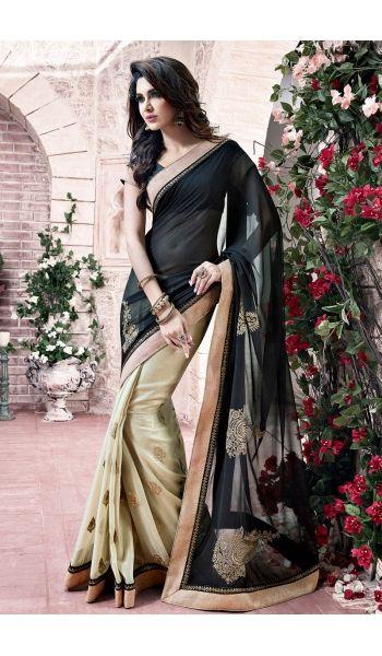 Appealing #Party Wear #Black, #Cream #Saree
