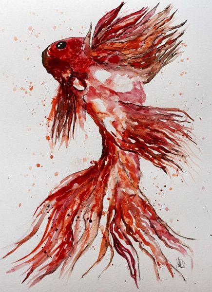 Aquarell - Koi Fisch - Original - Kunst - fine art - Aquarell - ein Designerstück von NewAgeArtist bei DaWanda