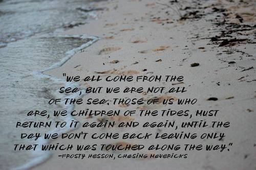 One of my most favorite quotes We all come from the sea, but we are not all of the sea. Those of us who are, we children of the tides, must return to it again and again, until the day we don't come back leaving only that which was touched along the way.~Frosty Hesson