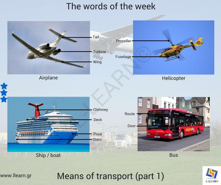 The means of transport.  #Αγγλικά #αγγλικές #λέξεις #αγγλική #γλώσσα #λεξιλόγιο #English #english #words #english #language #vocabulary #LLEARN