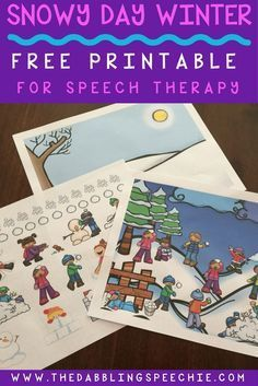 free snowy day picture scenes for speech therapy. Winter speech therapy resources to work on actions, open ended reinforcer and more! FREE printable