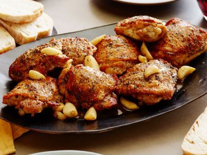 Roasted Garlic Clove Chicken.  This is a big favorite for my daughter. I actually use Emeril's Essence spice mix instead of Herbs de Provence for more flavor.