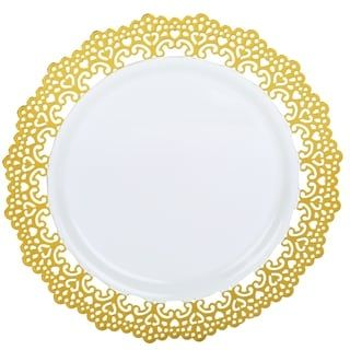 """Decorative Plastic Dinnerware 10"""" Inch Round Dinner Party Plates Gold Lace Rim (48 Pack)"""