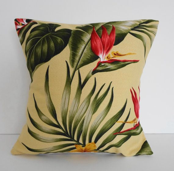 tropical throw pillows | Tropical Throw Pillow Cover, Hawaiian Print, 12x12, Yellow, Green