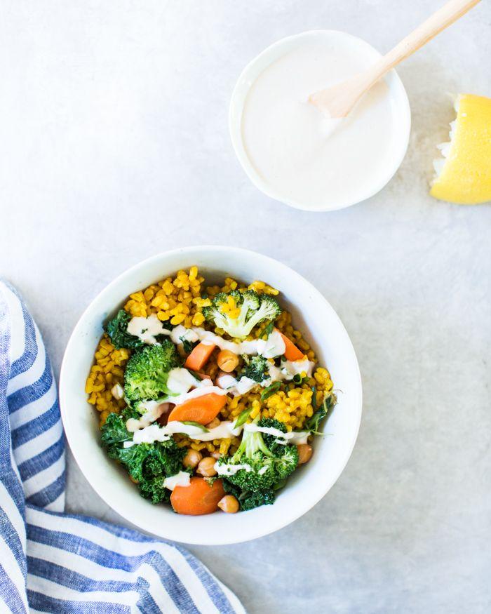 Broccoli and Turmeric Yellow Rice Bowls | A Couple Cooks