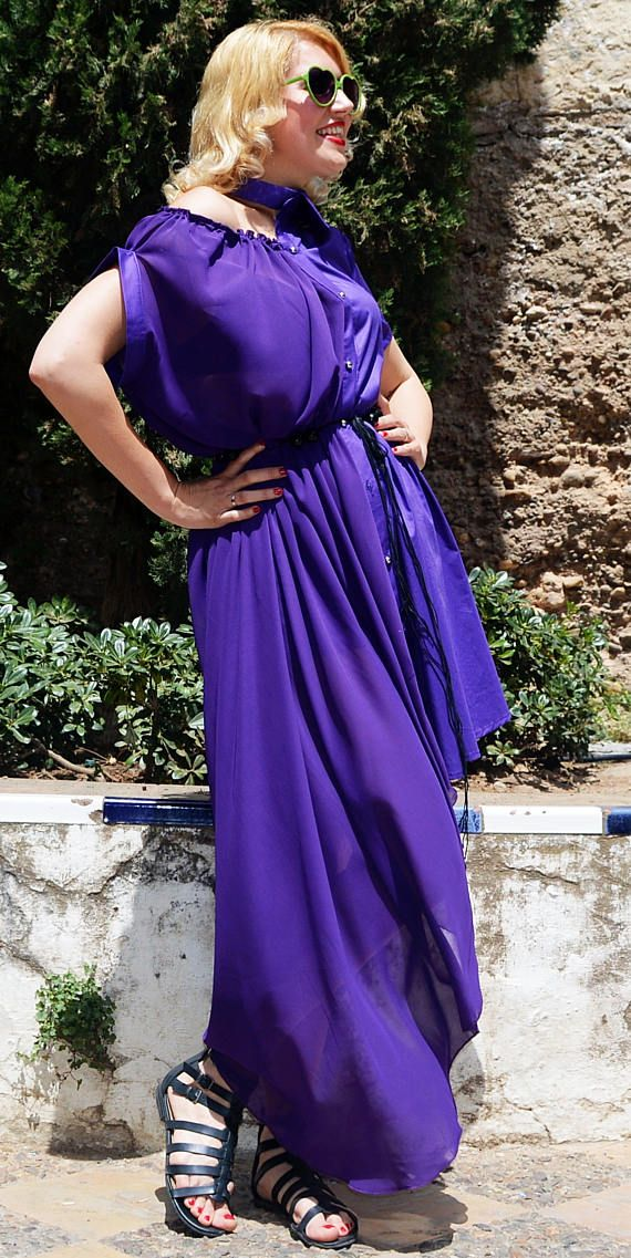 Extravagant asymmetrical dress made of a perfect union of cotton and chiffon, turning this purple unique maxi dress into a statement piece for this summer. If you feel that you are much more than one style, that you cant define yourself in just one word because you are far more complex and sophisticated, then this is your summer dress! A perfect mix of elegance and comfort, a statement TEYXO piece that will steal the spotlight and conquer your runway! Half cotton, half sheer chiffon, this…