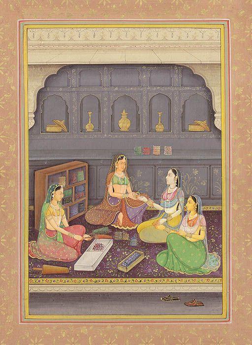 """""""Ladies at Bangles Shop"""" Mughal painting"""