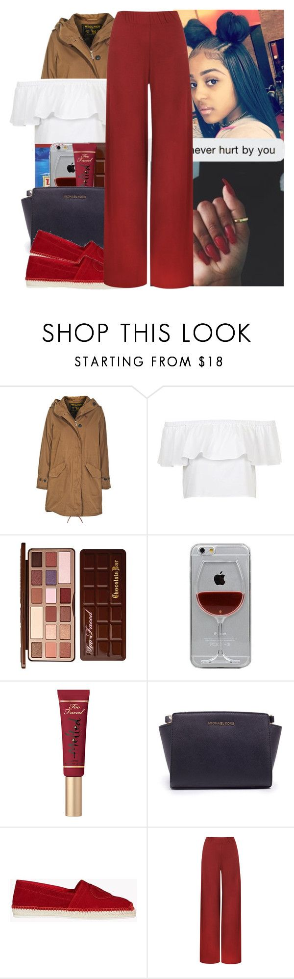 """📮"" by l-ondonbridge ❤ liked on Polyvore featuring Woolrich, Topshop, Too Faced Cosmetics, Reyes, Michael Kors, Dsquared2 and WearAll"