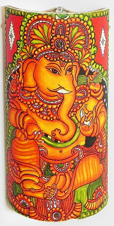 Lord Ganesha - Wall Hanging (Mural Painting on Bamboo))