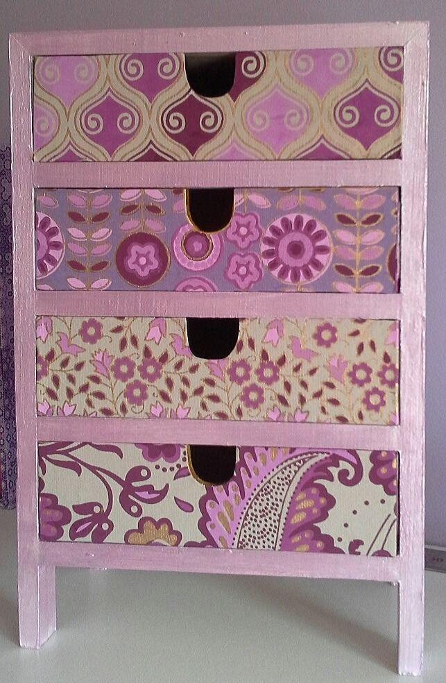 Commode 4 tiroirs bois, papier : Boîtes, coffrets par lescreadekris