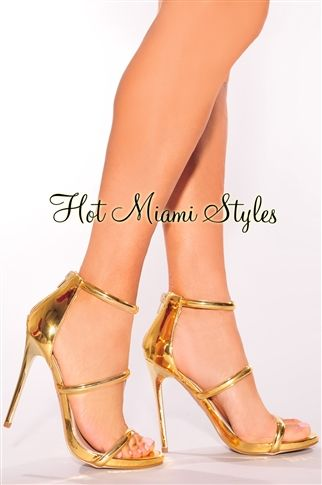 Gold Metallic Strappy High Heels